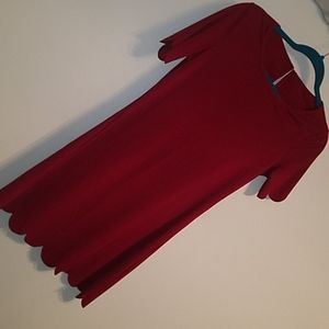 Scalloped Red Dress